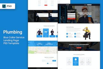Blue Collar Service - Landing Page PSD Template