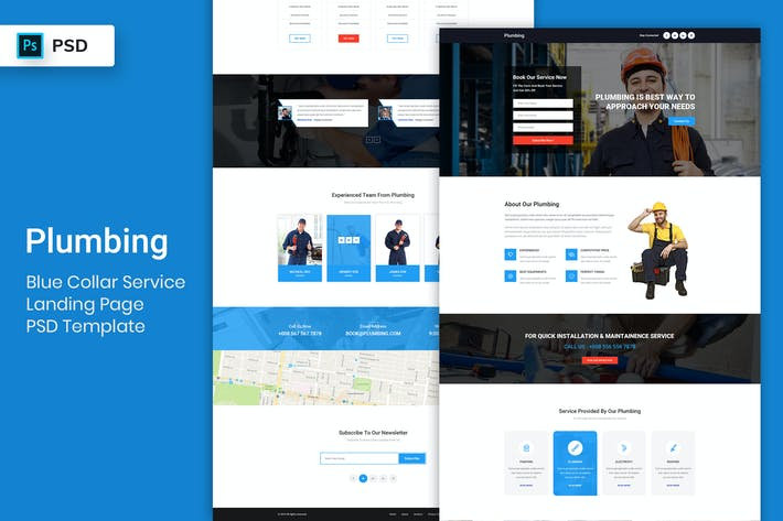 Thumbnail for Blue Collar Service - Landing Page PSD Template