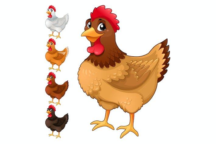 Thumbnail for Gruppe von Hennen in verschiedenen Farben