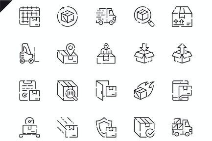 Simple Set Shipping Line Icons