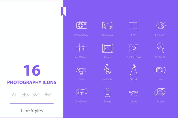 Fotografie Icon Set Linie Stile
