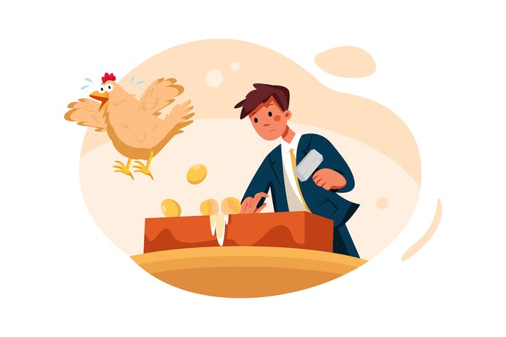 Businessman breaking golden egg and flying hen