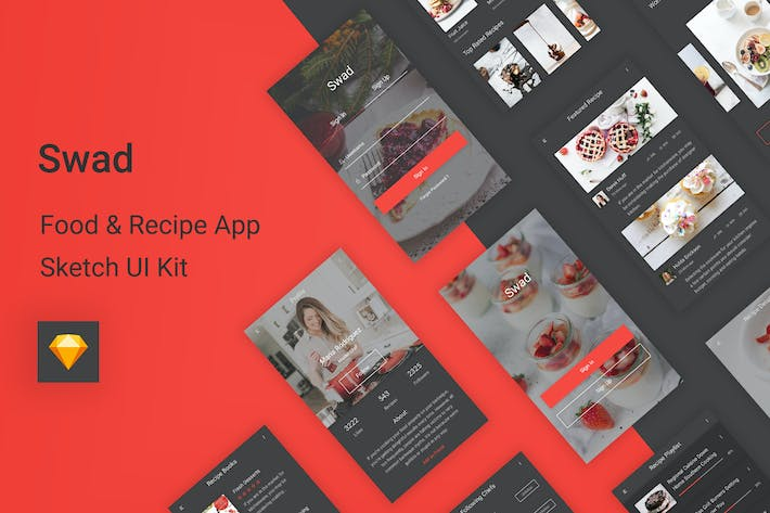 Cover Image For Swad - Food & Recipe Sketch UI Kit