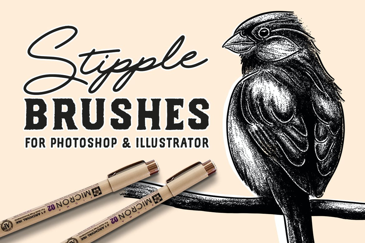 Stipple Brush Set for Photoshop and Illustrator by GraphicMonkee on