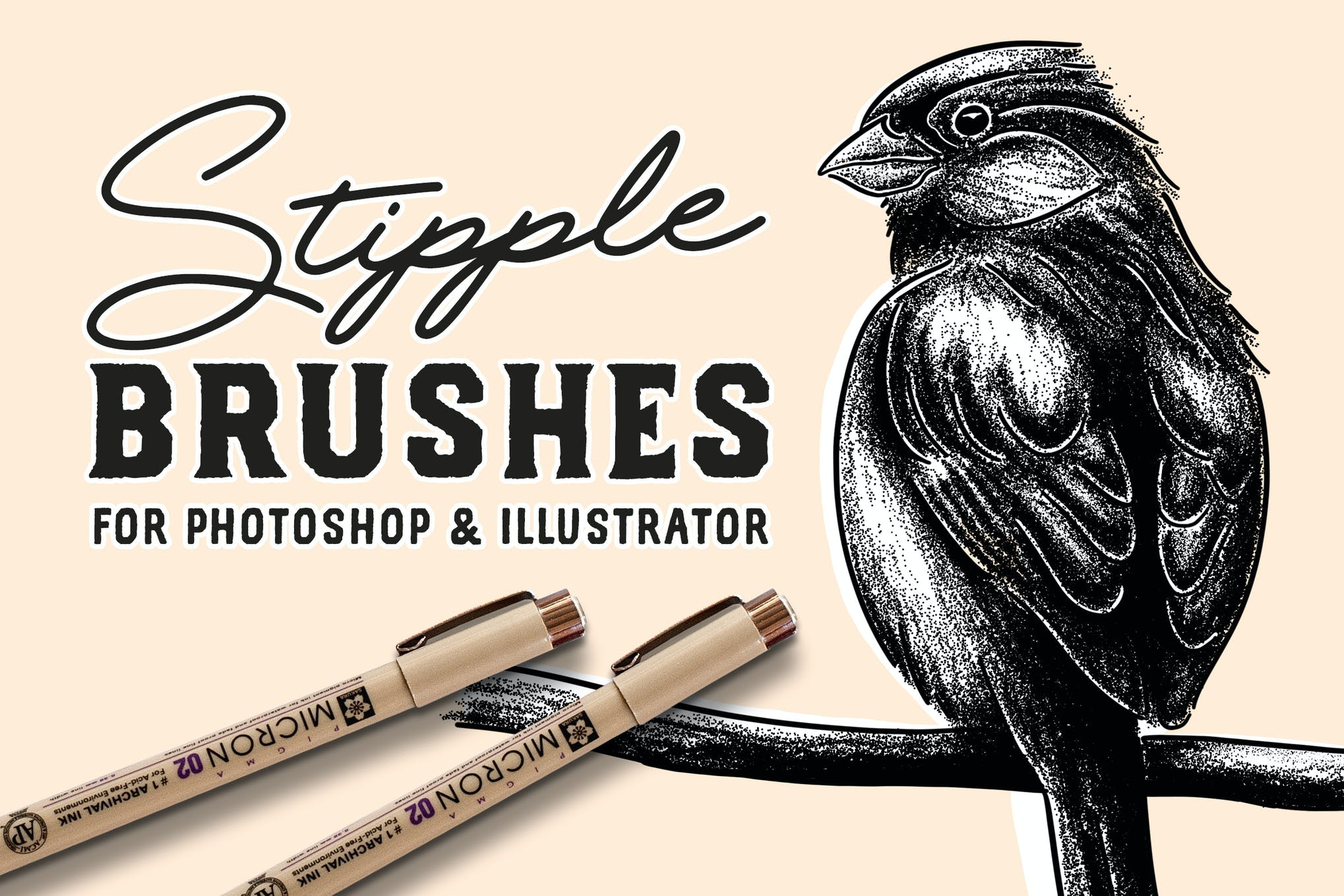 Stipple Brush Set for Photoshop and Illustrator by