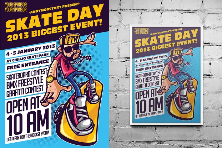 Thumbnail for Skate Day - Illustrative Flyer/Poster