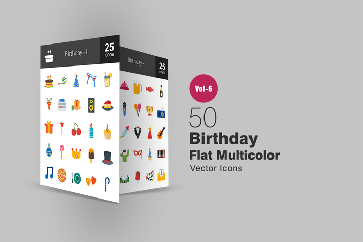 Thumbnail for 50 Birthday Flat Multicolor Icons