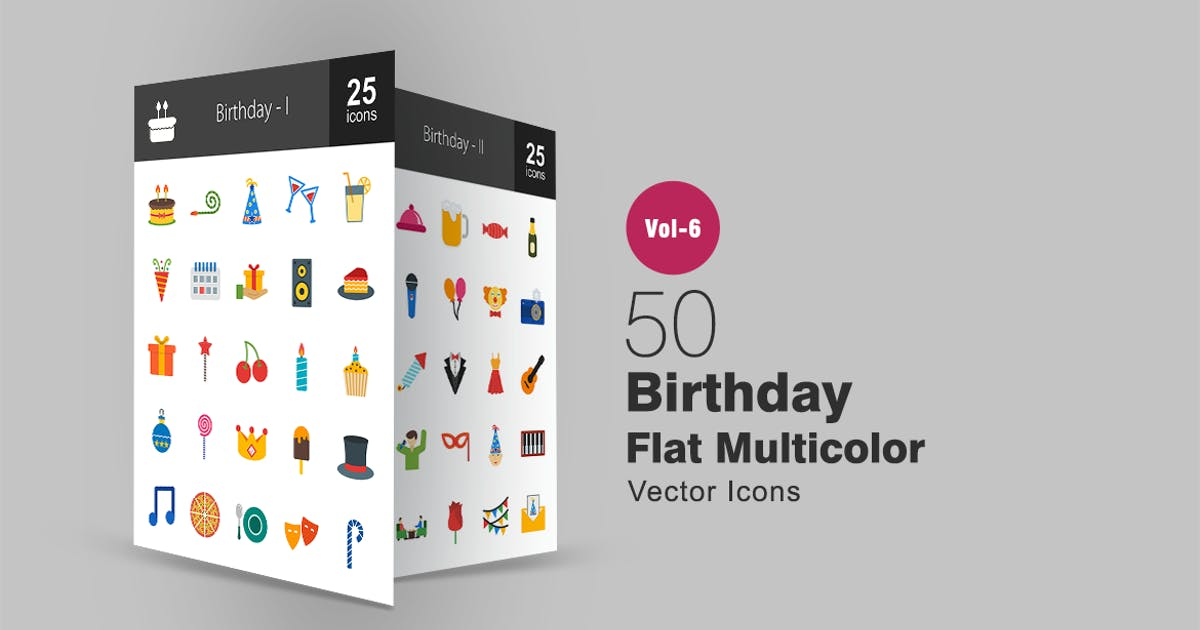 Download 50 Birthday Flat Multicolor Icons by IconBunny