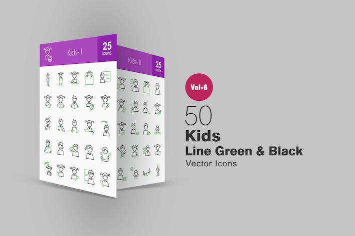 Thumbnail for 50 Kids Green & Black Line Icons