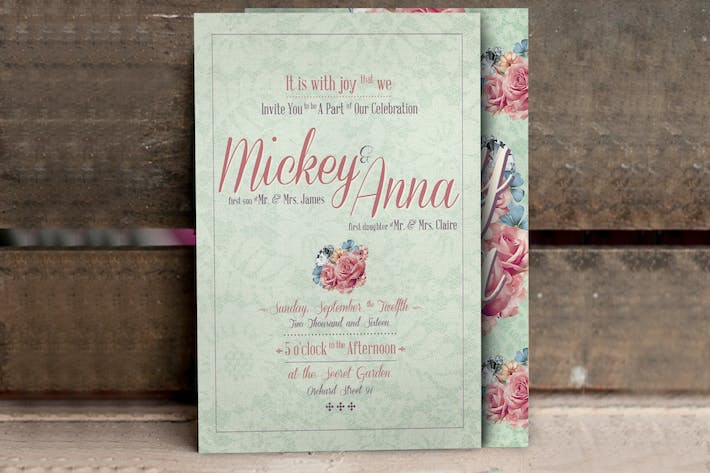 Thumbnail for Flower Pattern Wedding Invitation