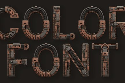 Steampunk - 3D Color SVG Font