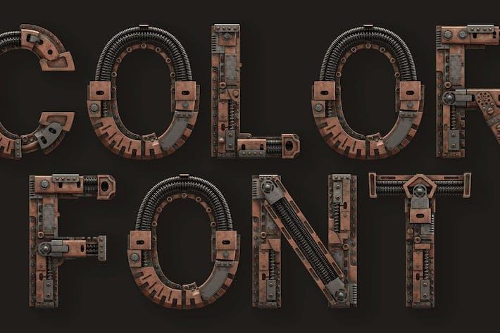 Thumbnail for Steampunk - 3D Color SVG Font