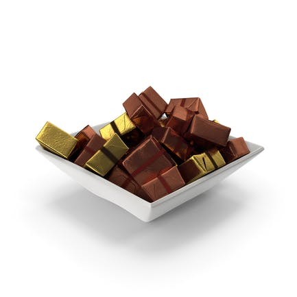 Square Bowl with Wrapped Square Chocolate Candy