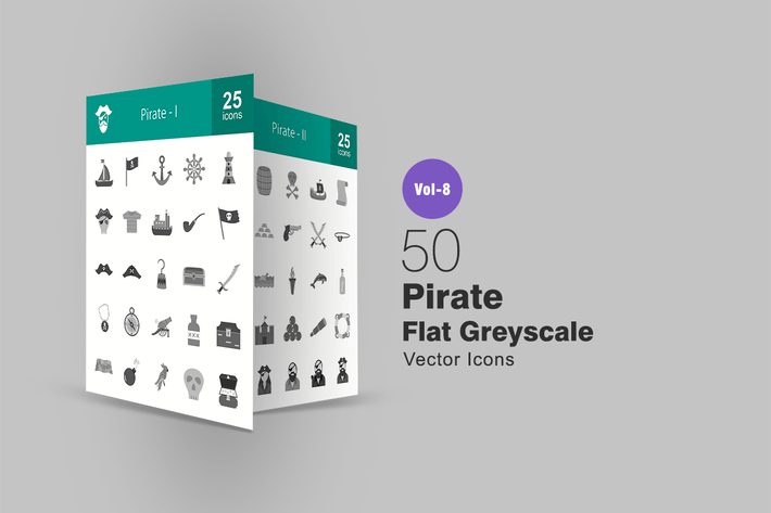 Thumbnail for 50 Pirate Flat Greyscale Icons