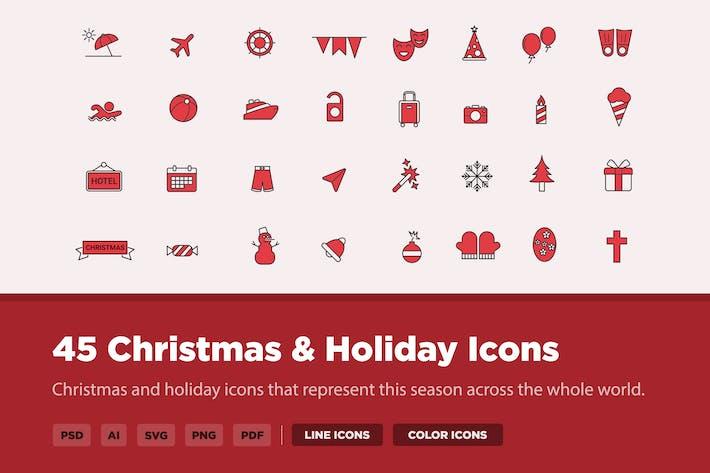 Thumbnail for 45 Christmas & Holiday Icons