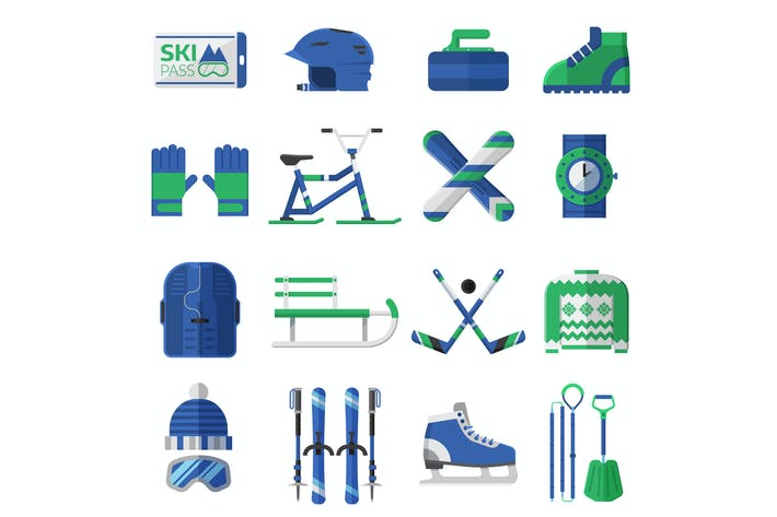 Thumbnail for Winter Sports Equipment Icons