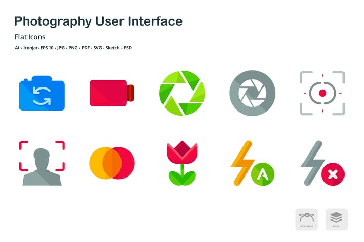 Thumbnail for Photography User Interface Flat Colored Icons