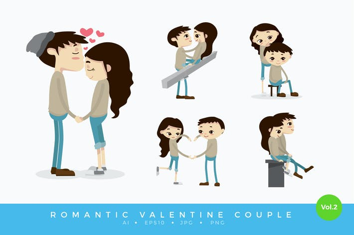 Thumbnail for Cute Romantic Valentine Couple Vector Vol.2