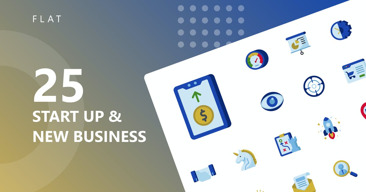 Download Start Up & Business Flat Icons by kerismaker