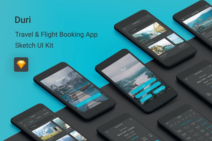 Cover Image For Duri - Travel & Flight Booking Sketch UI Kit