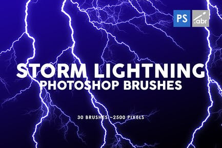 30 Storm Lightning Ptohoshop Stamp Brushes