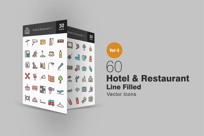 Thumbnail for 60 Hotel & Restaurant Line Filled Icons