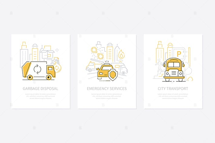 Thumbnail for Urban transport - line design style banners set