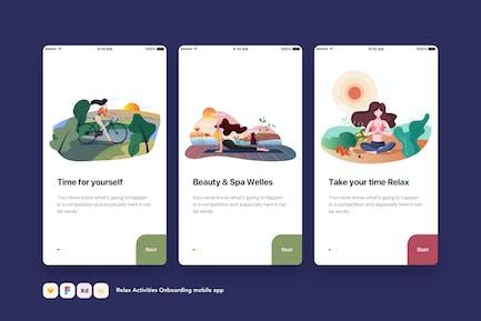 Relax Activities Onboarding mobile app