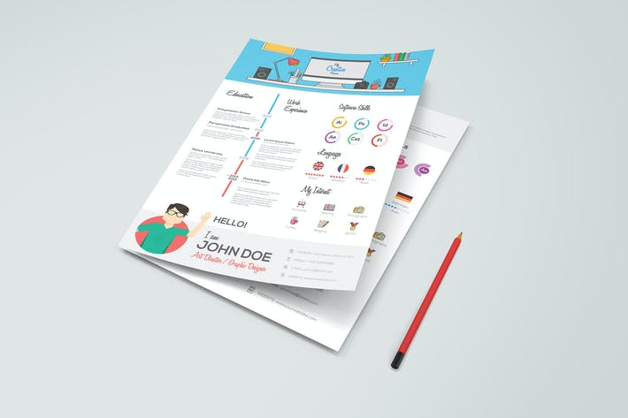 Thumbnail for Simple Flat Resume with Infographics