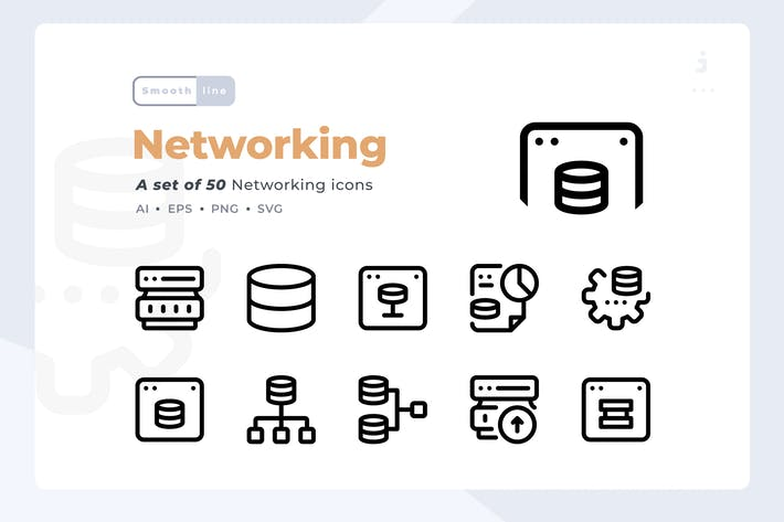 Thumbnail for Smoothline - 50 Networking and Database icon set