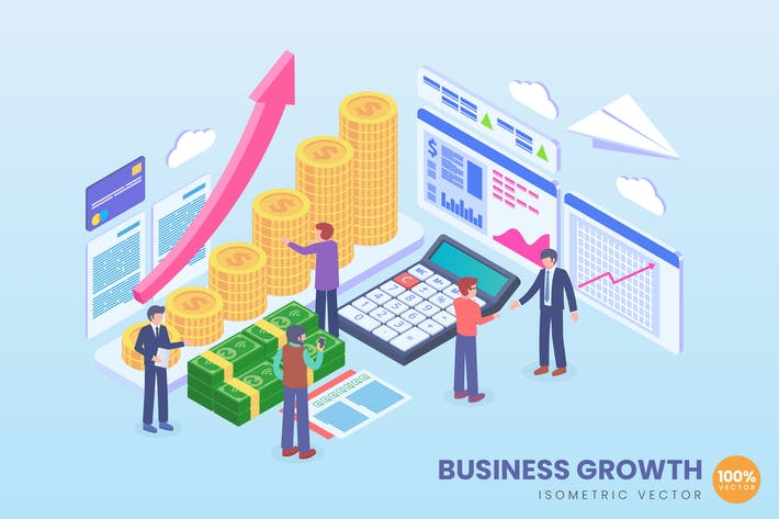 Cover Image For Isometric Business Growth Vector Concept