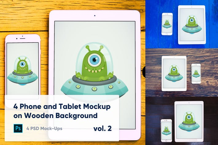 Thumbnail for 4 Tablet & Phone Mockup on Wooden Background Vol.2