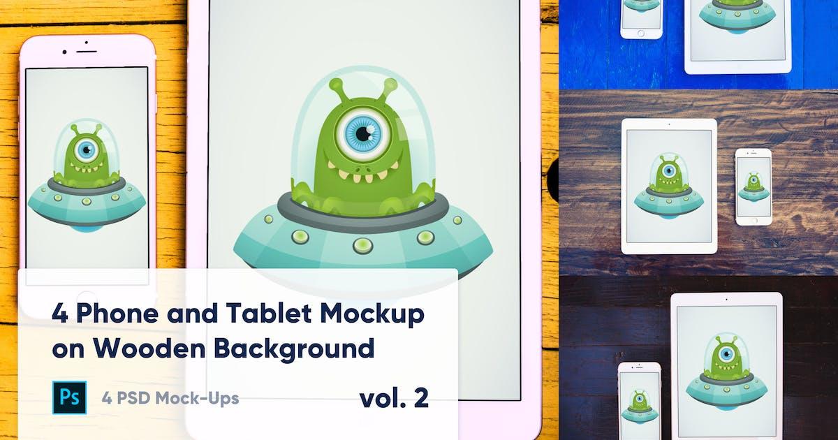 Download 4 Tablet & Phone Mockup on Wooden Background Vol.2 by maroskadlec