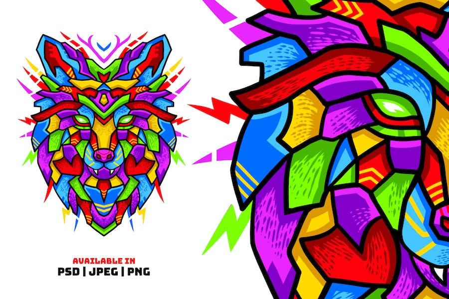 Шаблон красочной иллюстрации волк