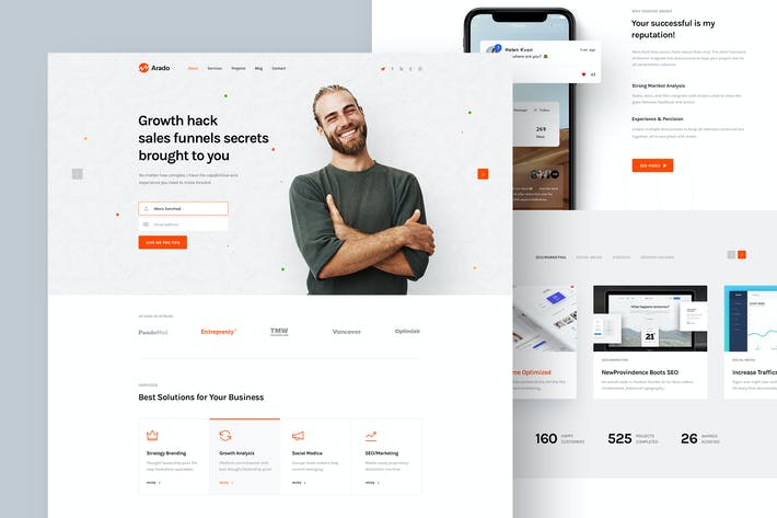 Thumbnail for Arado - Digital Marketer Portfolio PSD Template