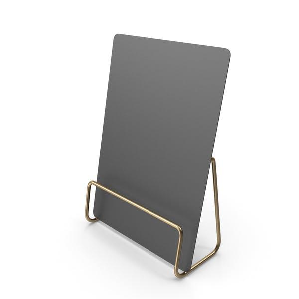 Schwarzes Schreibtisch-Papierbanner mit Goldständer