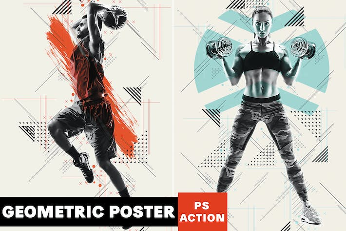 Thumbnail for Geometric Poster Photoshop Action