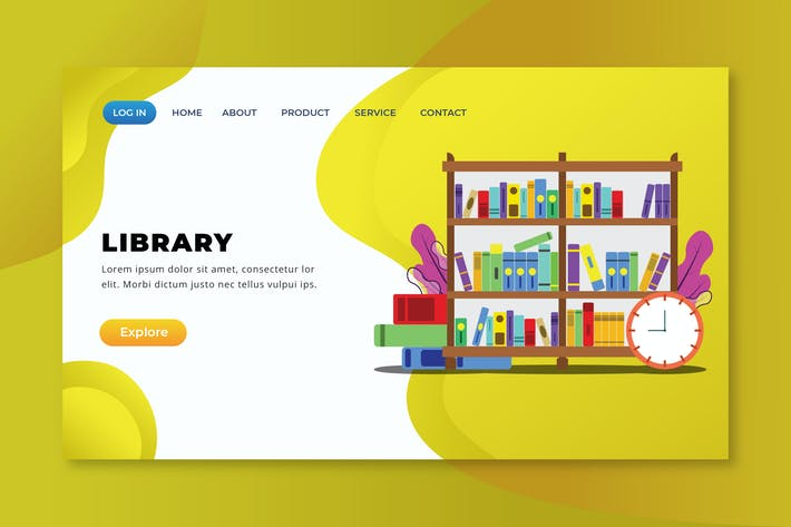 Thumbnail for Library - XD PSD AI Vector Landing Page