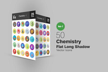 50 Chemistry Flat Shadowed Icons