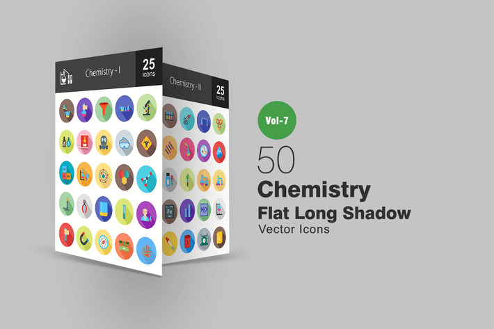 Thumbnail for 50 Chemistry Flat Shadowed Icons