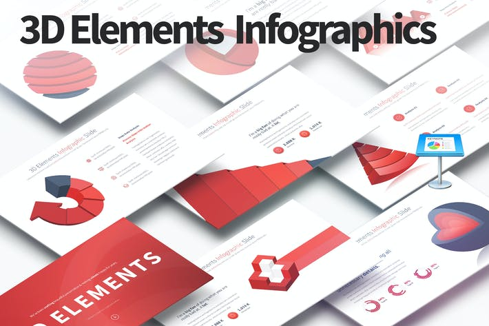 Thumbnail for 3D Elements - Keynote Infographics Slides