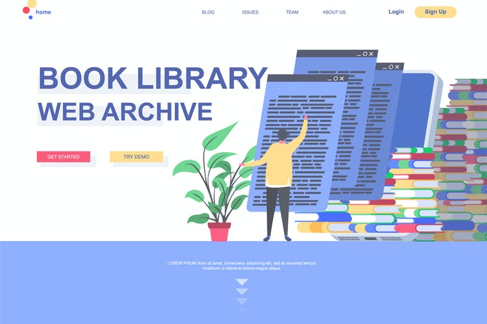 Thumbnail for Book Library Landing Page Template