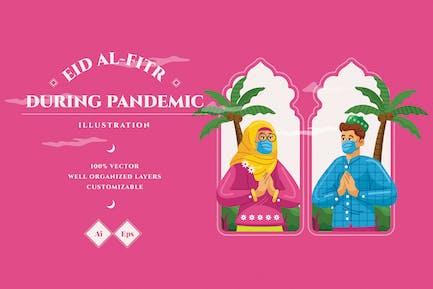 Eid Al-Fitr During Pandemic Illustration