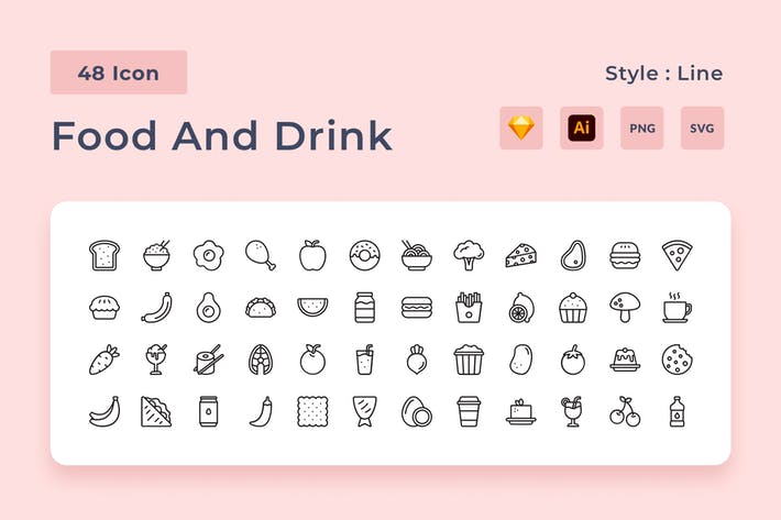 Snack & Beverages Outline Style Icon Pack