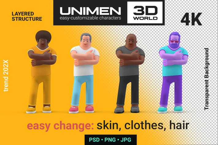 Thumbnail for 3D Man Casual standing Closed Arms on Chest