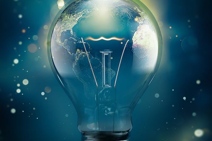 Thumbnail for 3D light bulb with a planet inside