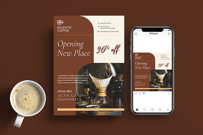 Thumbnail for Minimal Coffee Cafe Flyer & Instagram - Vol 04