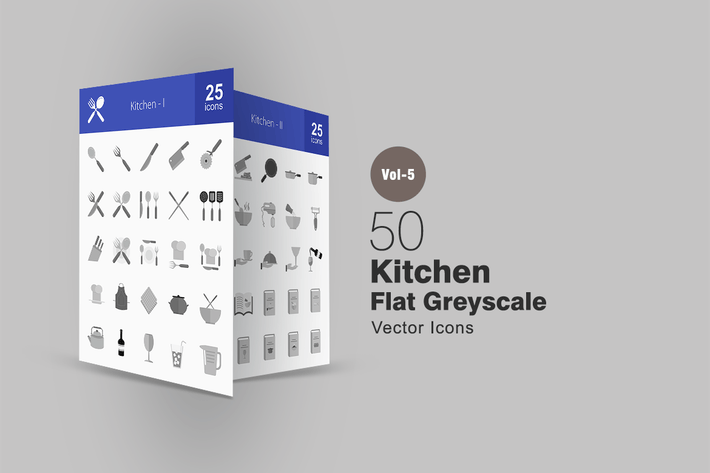 Thumbnail for 50 Kitchen Greyscale Icons