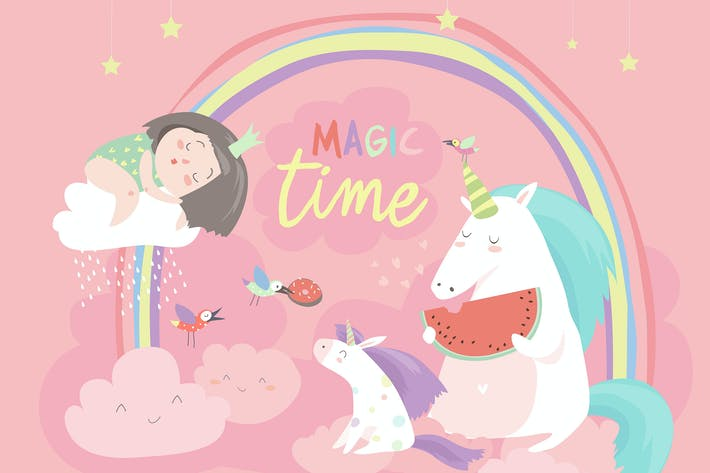 Thumbnail for Cute cartoon girl with unicorns. Vector