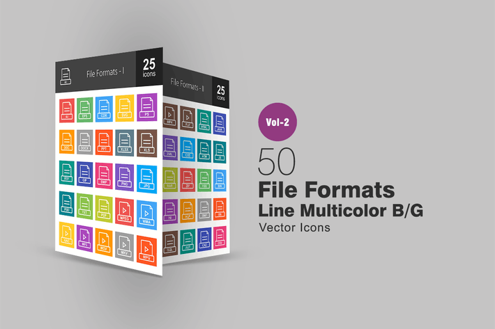 Cover Image For 50 Dateiformate Linie Multicolor Icons